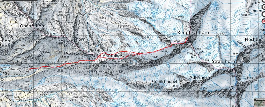 Útvonal a Berghaus Flue-től. A szaggatott vonal az ajánlott, a Pfulwe csúcsán keresztül.