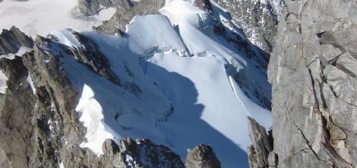 útvonal vissza, háttérben a Mont Blanc
