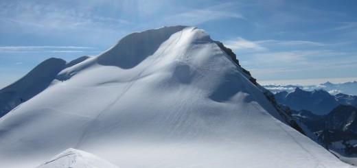 Először láttam meg a főcsúcsot. Grand Combin de Grafenaire, a Grand Combin de Valsorey felől nézve.