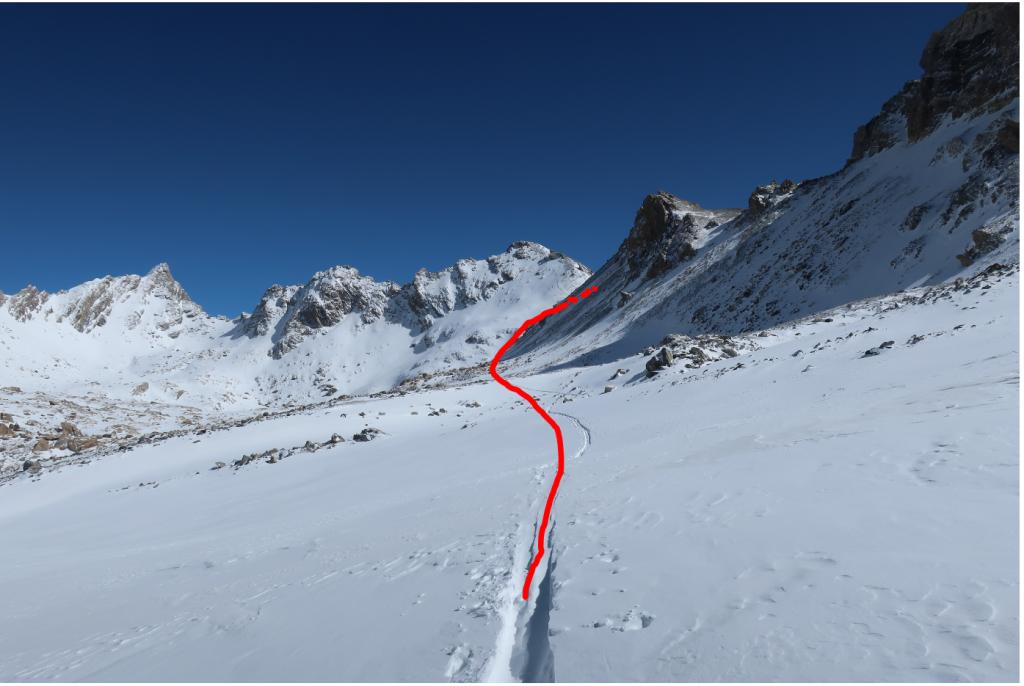 útvonal a Col Gypiere-be (2927m)